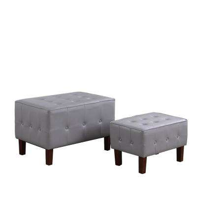 Light Gray Leatherette Allover Tufted Piping Trim Stackable Seating Bench