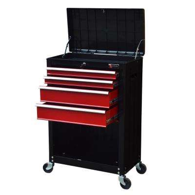 22 in. Ball Bearing Slide 4-Drawer Roller Cabinet Tool Chest in Black and Red with Storage Compartment
