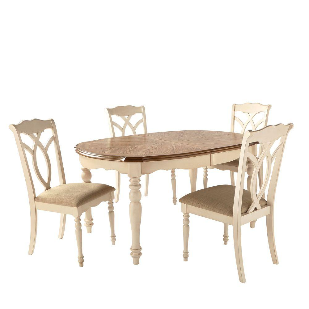 HomeSullivan Rosemont 5 Piece Antique White Dining Set
