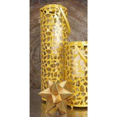 35 in. Mustard Gold Candle Lantern