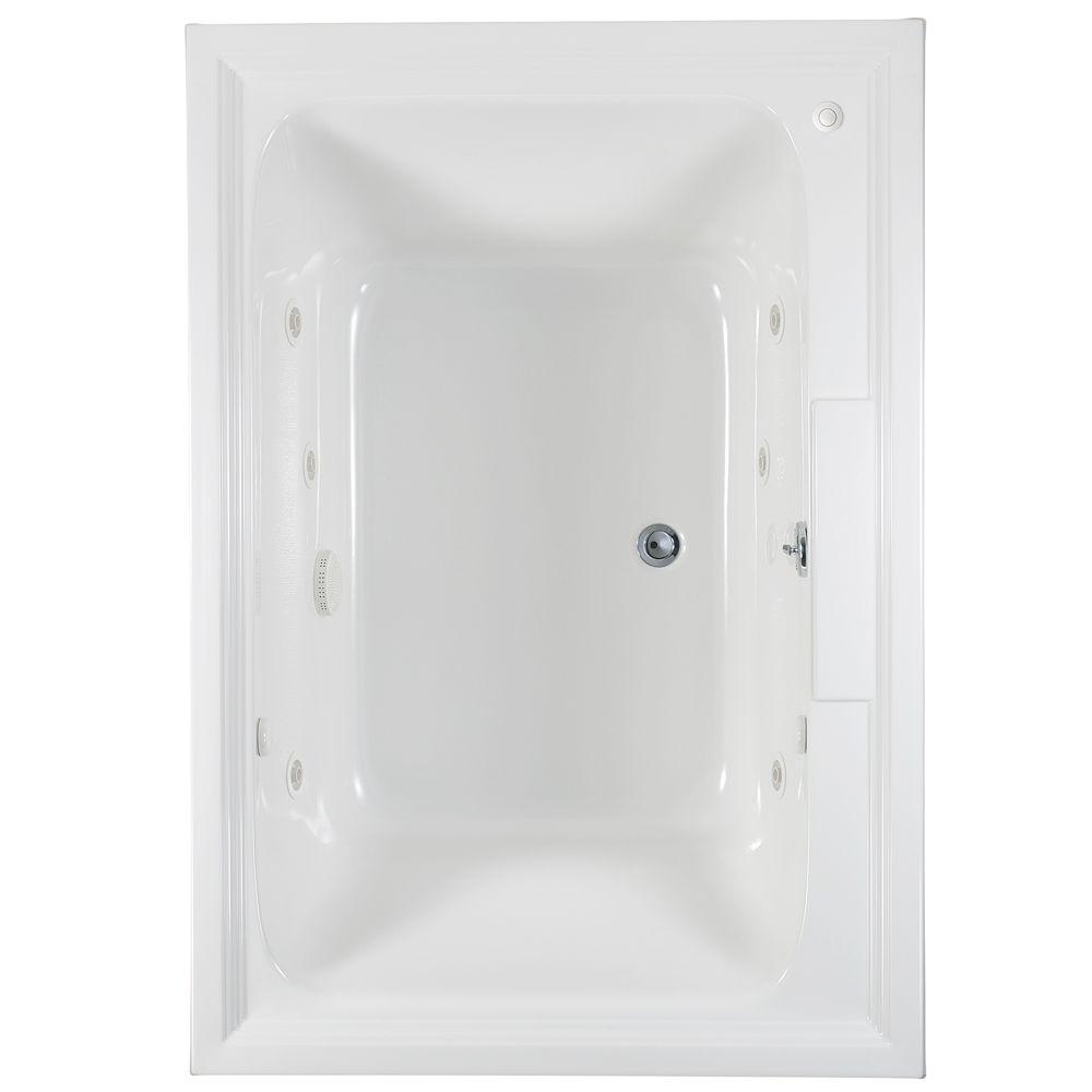 American Standard Town Square 5 ft. x 42 in. Center Drain EcoSilent EverClean Whirlpool Tub in Arctic White