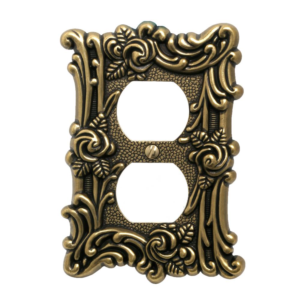 Amerelle Provinicial 1 Duplex Wall Plate, Antique Brass