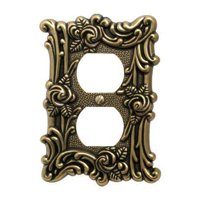 Provinicial 1 Duplex Wall Plate, Antique Brass