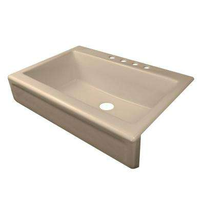 Simplicity Apron Front Acrylic 34 in. 4-Hole Single Bowl Kitchen Sink in Almond