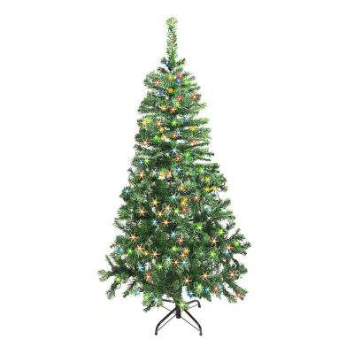 7.5 ft. Unlit Artificial Christmas Tree Indoor with Multicolored Lights