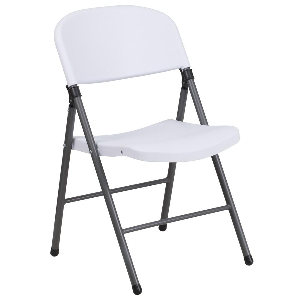 Flash Furniture Hercules Series 330 Lb Capacity White Plastic Folding Chair With Charcoal Frame DADYCD50WH