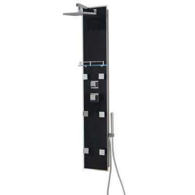 59 in. H x 10 in. W x 3 in. D Full Install 6-Jet Shower Panel System in Black Tempered Glass