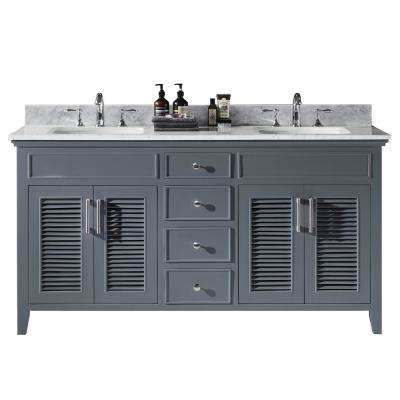 Elise 60 in. W x 22 in. D x 34.21 in. H Bath Vanity in Cashmere Grey with Marble Vanity Top in White with White Basins