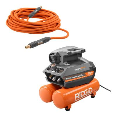 4.5 Gal. Portable Electric Quiet Air Compressor and 1/4 in. Lay Flat Air Hose