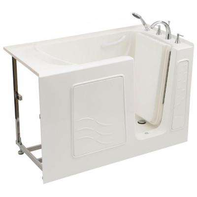 Builder's Choice 53 in. Right Drain Quick Fill Walk-In Soaking Bath Tub in White