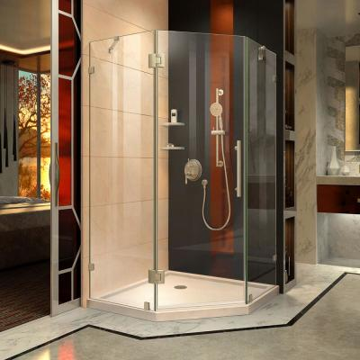 Prism Lux 36 in. x 36 in. x 74.75 in. Frameless Hinged Shower Enclosure in Brushed Nickel with Shower Base