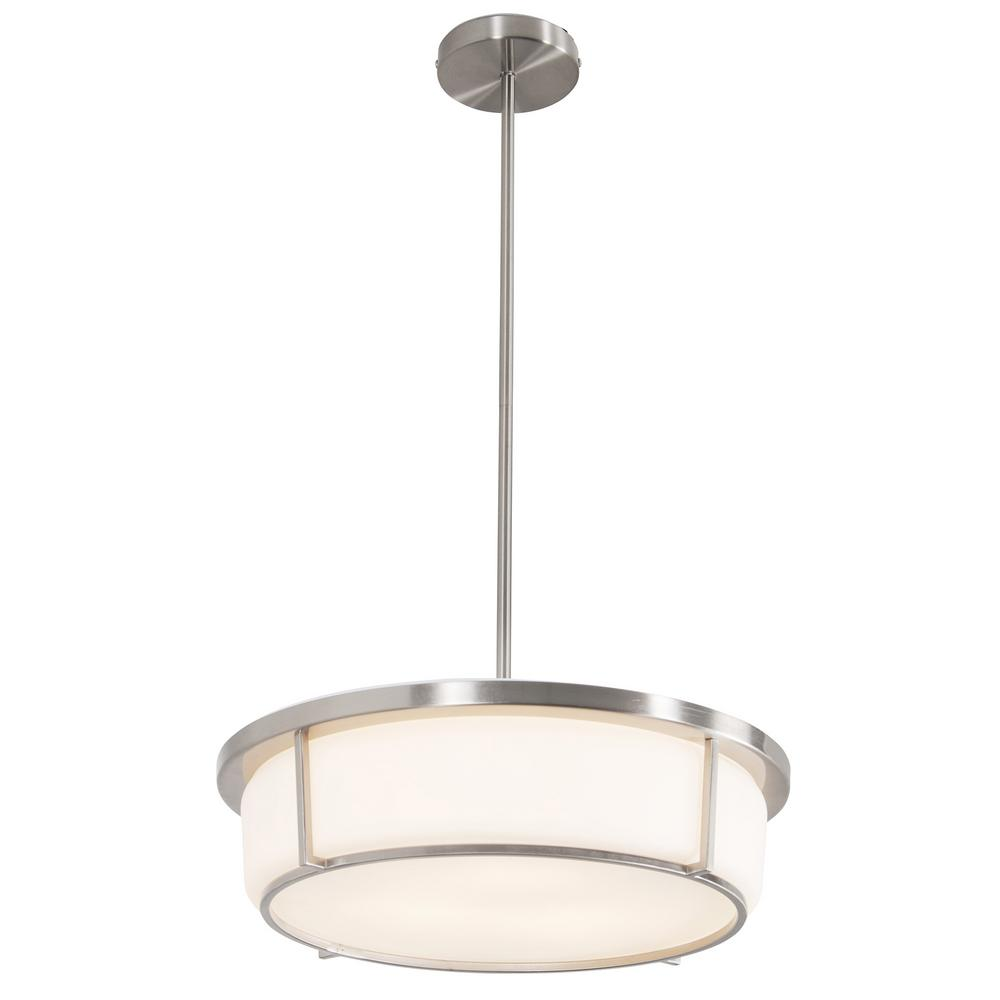 Six Light Satin Nickel Satin Opal Glass Island Light