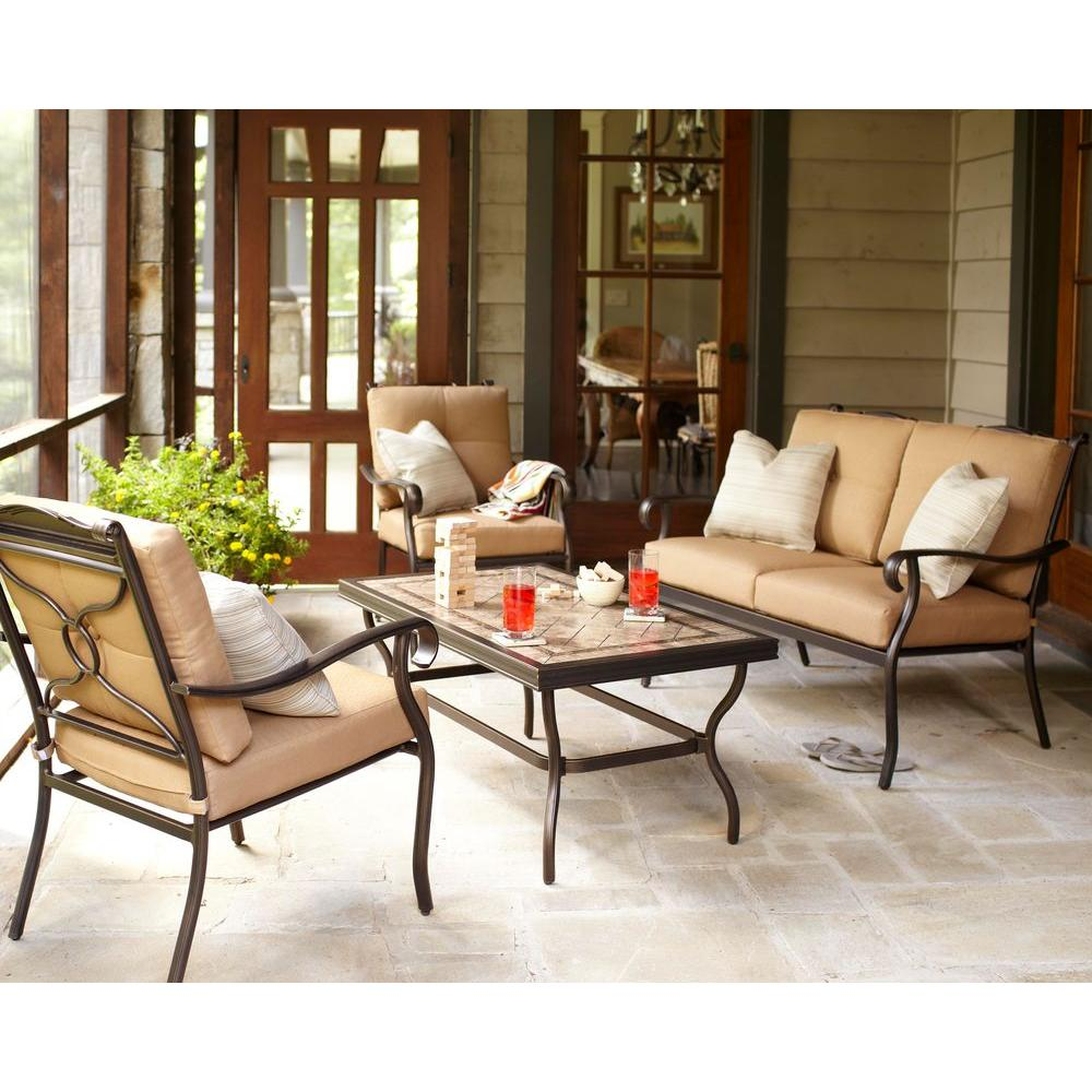 Hampton Bay Westbury 4-Piece Patio Deep Seating Set with Tan Cushions