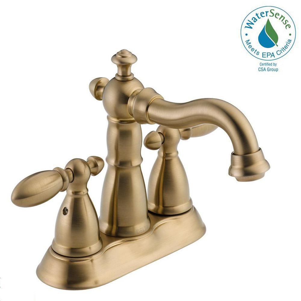 Delta Victorian 4 in. Centerset 2-Handle Bathroom Faucet with Metal Drain Assembly in Champagne Bronze