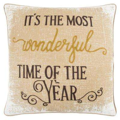 Christmas It's the Most Wonderful Time of the Year 20 in. x 20 in. Decorative Filled Pillow