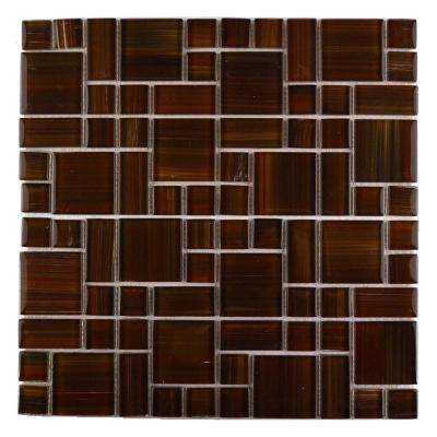 Handicraft II Maroon 12 in. x 12 in. Glass Mosaic Tile