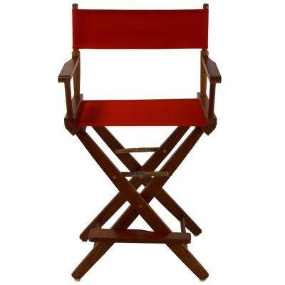 24 in. Extra-Wide Mission Oak Wood Frame/Red Canvas Seat Folding Directors Chair