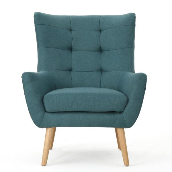 Noble house tamsin mid century modern tufted back dark - Dark teal accent chair ...
