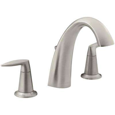 Alteo Deck-Mount 2-Handle Bathroom Faucet Trim Kit with Diverter in Vibrant Brushed Nickel (Valve Not Included)