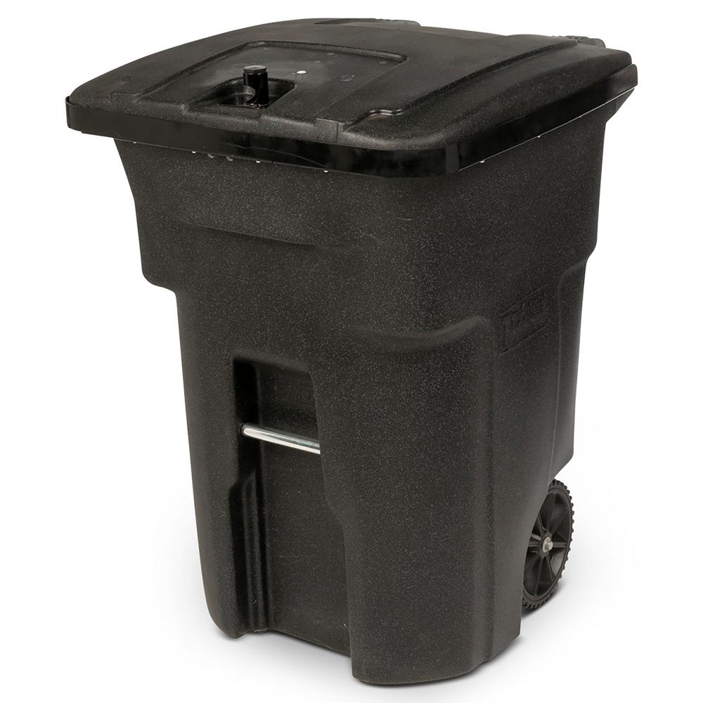 Toter 96 Gal Black Bear Tight Wheeled Trash Can 25b96 01bks The Home Depot
