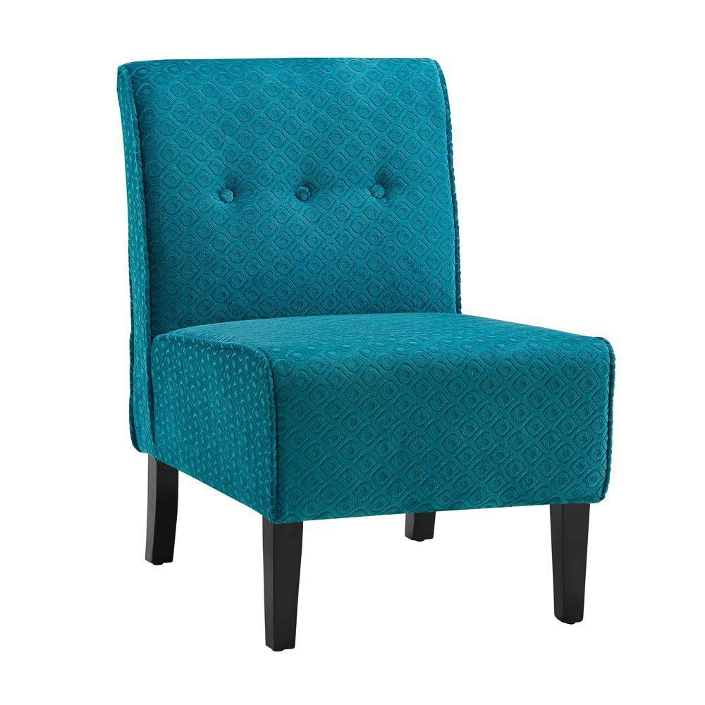 Linon Home Decor Coco Teal Blue Microfiber Side Chair