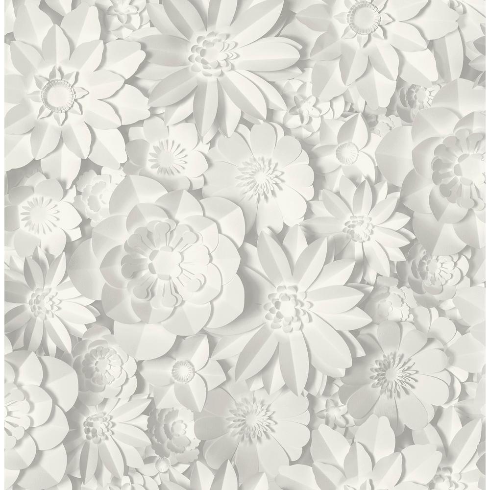 Dacre White Floral Wallpaper