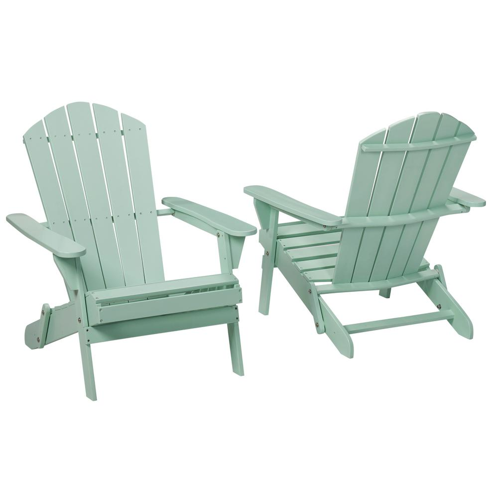 Mist Folding Outdoor Adirondack Chair (2 Pack)