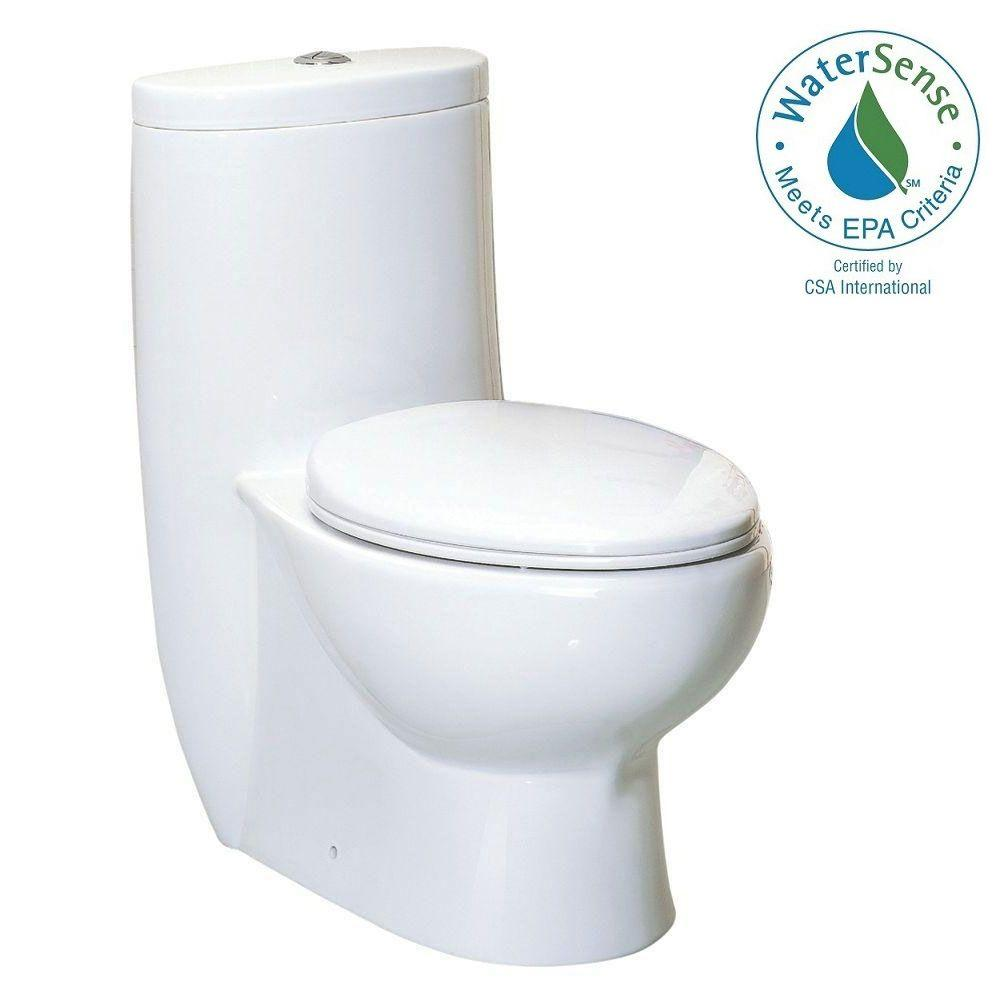 Whitehaus Collection Magic Flush 1 Piece 6 Gpf Dual Elongated Toilet In