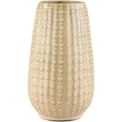 Jimos 11.42 in. Tan Ceramic Decorative Vase