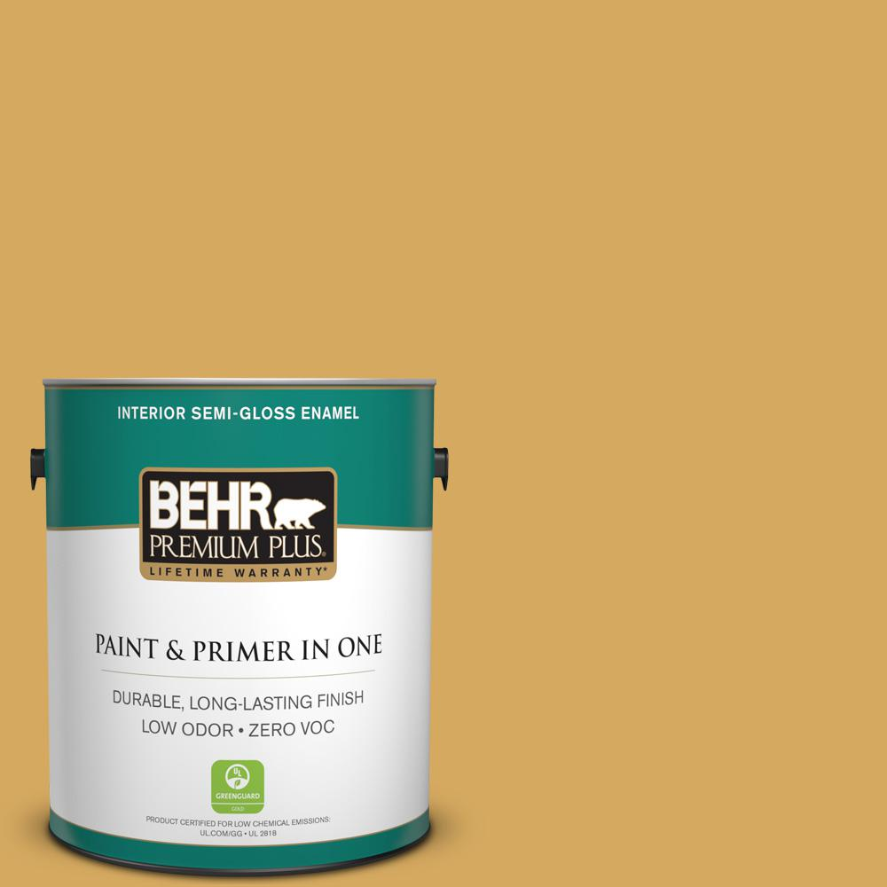 1-gal. #340D-5 Galley Gold Zero VOC Semi-Gloss Enamel Interior Paint