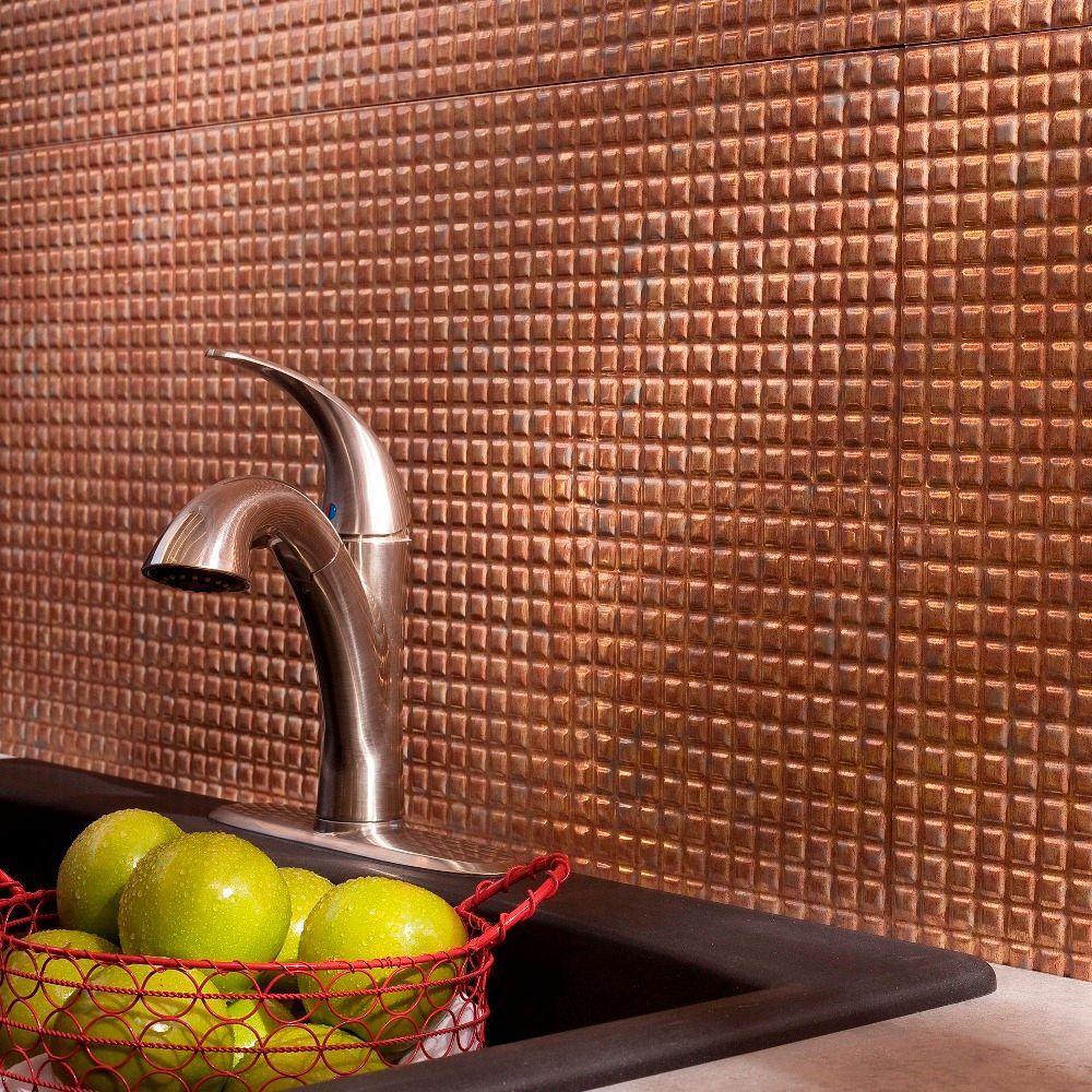 Fasade 24 in. x 18 in. Squares PVC Decorative Backsplash Panel in Cracked Copper