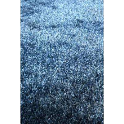Fuzzy Two Tone Blue 5 ft. x 7 ft. Soft Hand Tufted Shaggy Area Rug