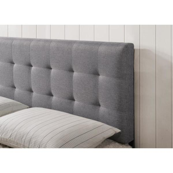 Superb Poly And Bark Gray Guilia Square Stitched Headboard Queen Beatyapartments Chair Design Images Beatyapartmentscom