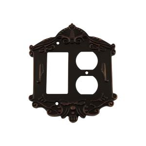 Nostalgic Warehouse Victorian Switch Plate with Rocker and Outlet in Timeless... by Nostalgic Warehouse