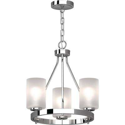 Emery 3-Light Chrome Indoor Mini Hanging Chandelier with Frosted Glass Cylinder Shades