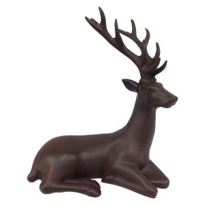 12 in. Sitting Reindeer Matte Brown