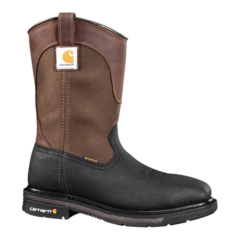 7b748b43e27 Carhartt Rugged Flex Square Toe Men's 10W Black PU Coated Leather/Brown  Fabric Waterproof Steel Safety Toe 11-in Work Boot