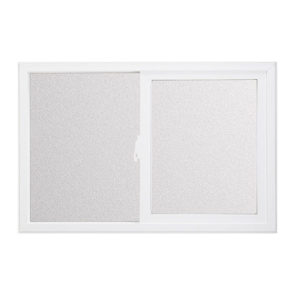 JELD-WEN Horizontal Sliding Vinyl Windows, 36 in. x 12 in., White, with LowE Tempered Glass and Screen-DISCONTINUED