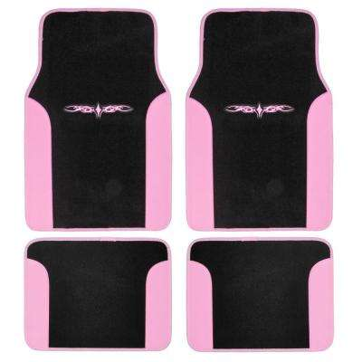 Tattoo Design MT-201 Pink Carpet With PU Leather 4-Piece Car Floor Mats