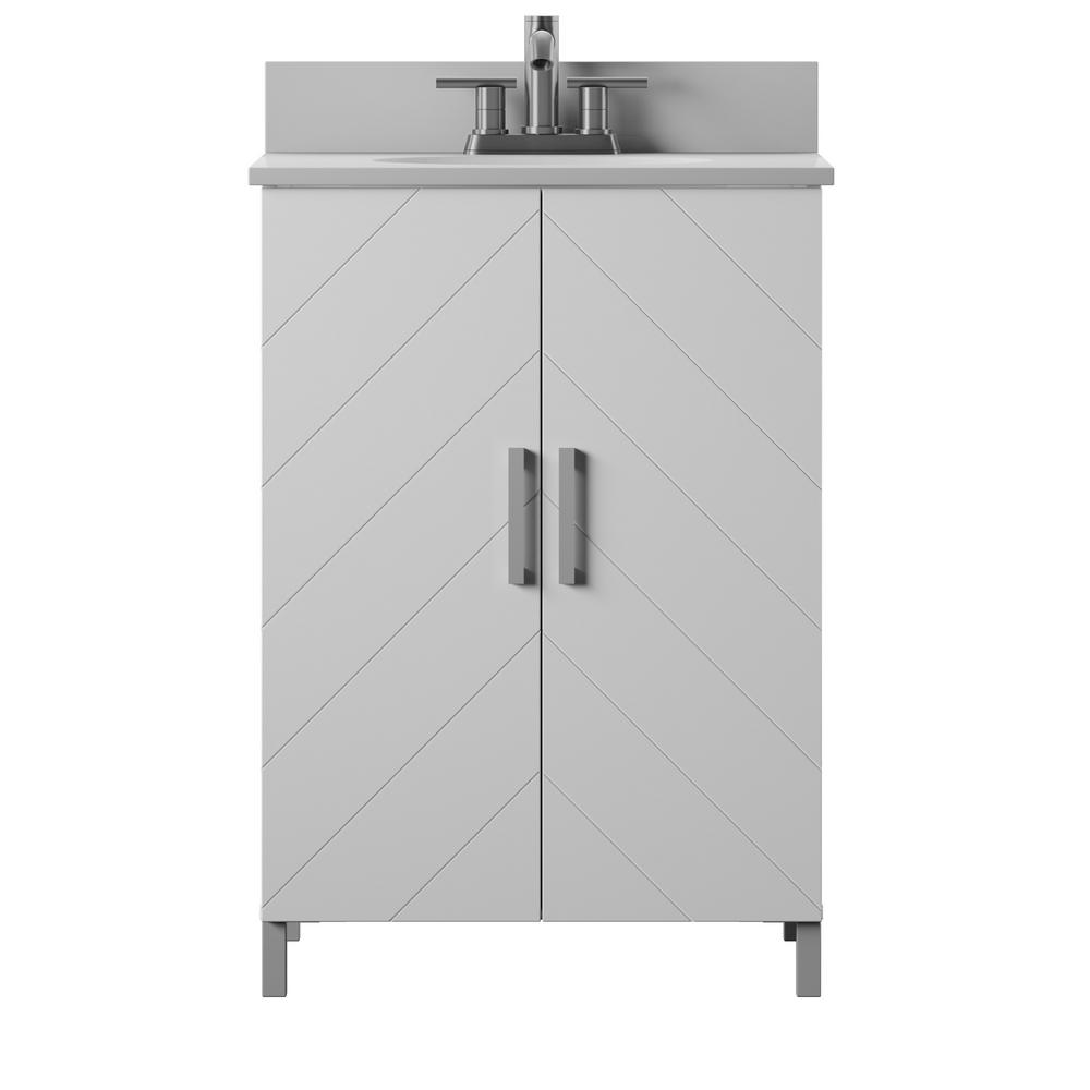 24 in. Bath Vanity in White, Contemporary Chevron Doors with Vanity Top in White Stone with Basin and metal legs