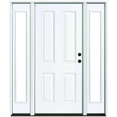 68 in. x 80 in. 4-Panel Primed White Left-Hand Steel Prehung Front Door with 14 in. Clear Glass Sidelites 6 in. Wall