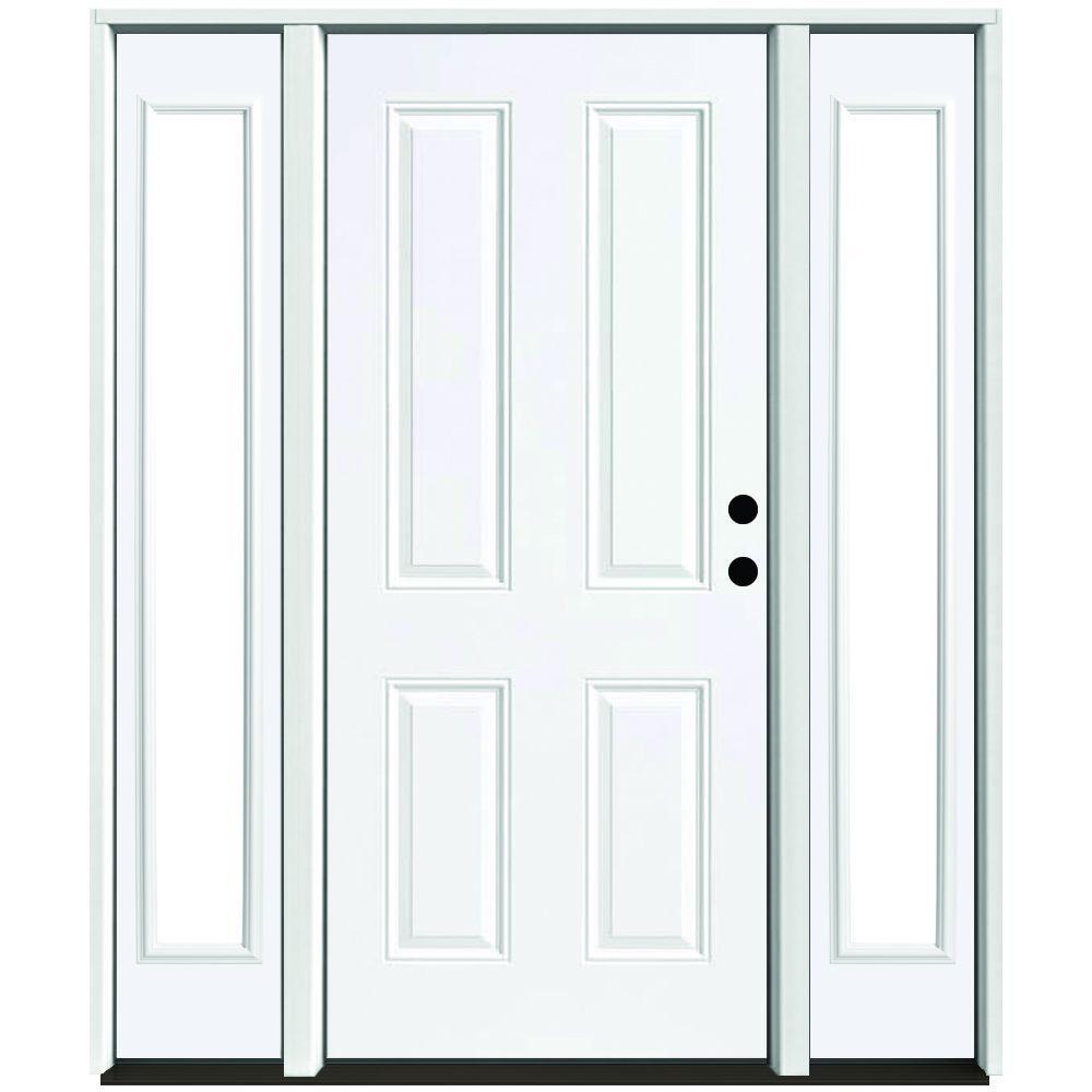 Steves sons 72 in x 80 in 4 panel primed white left for 72 x 80 exterior door