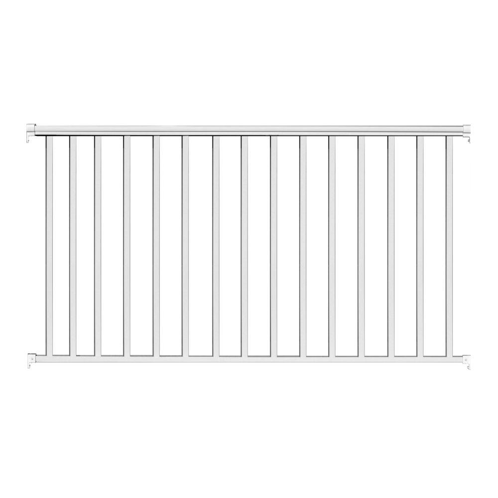 6 ft. x 54 in. White Aluminum Fence Panel Kit with