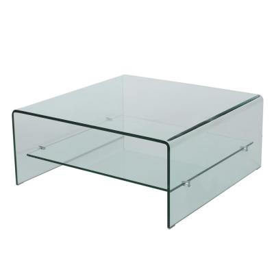 Atticus 13.9 in. Clear Tempered Glass Coffee Table