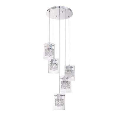 Politan Series 5-Light Chrome Pendant Pan