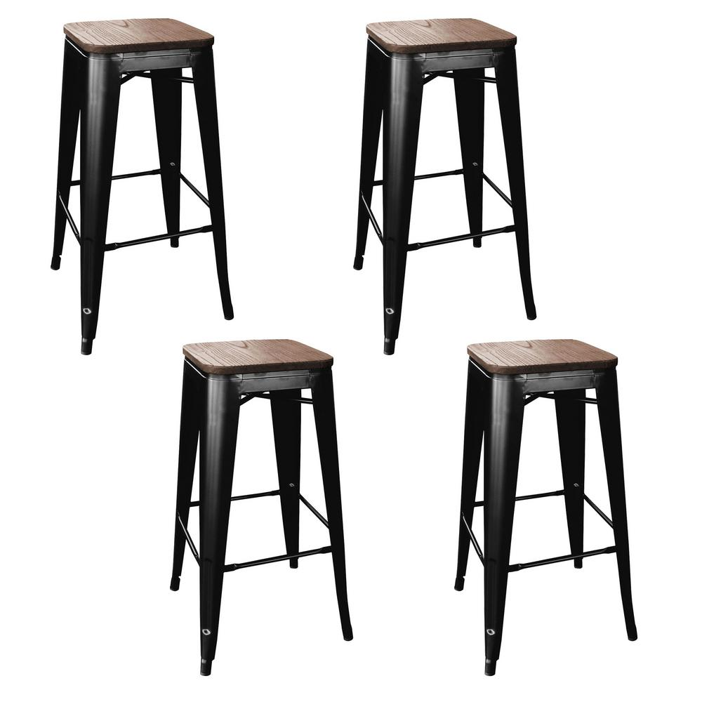 Stackable Bar Stool In Black With Dark Elm Wood Seats