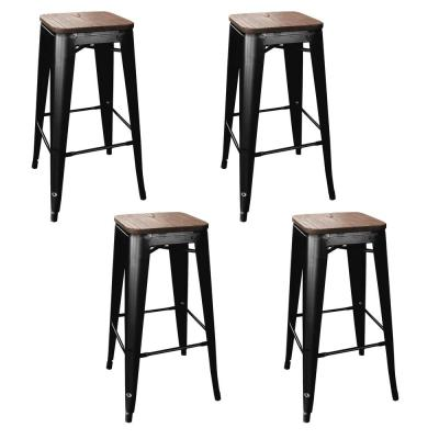Loft Style 30 in. Stackable Bar Stool in Black with Dark Elm Wood Seats (Set of 4)