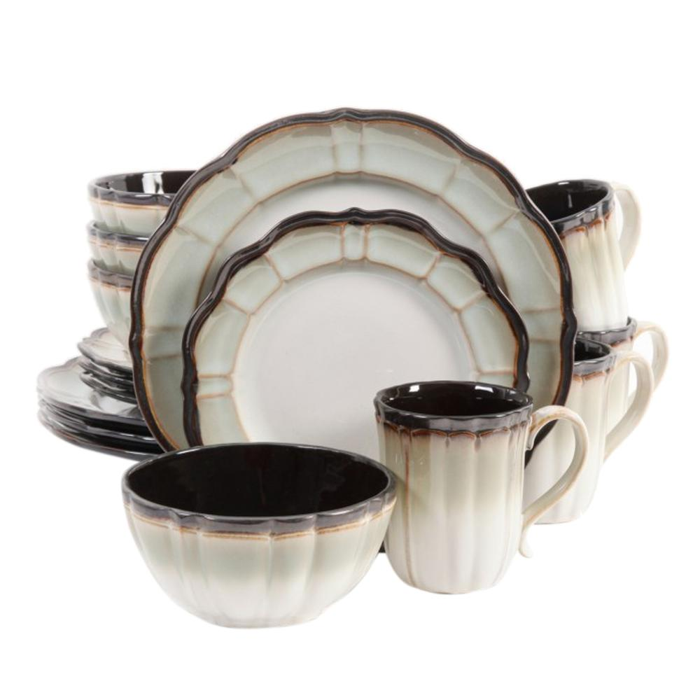 GIBSON elite Mableton 16 Piece Green Dinnerware Set