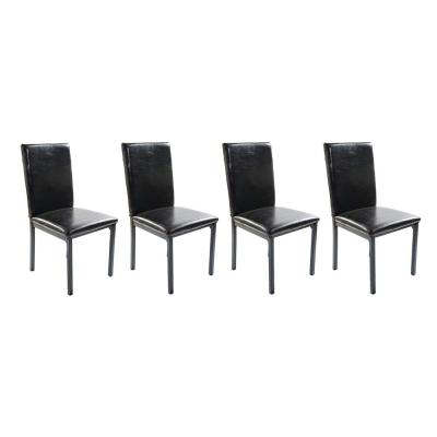 Home Source Carlton Dark Brown Faux Leather Side Chairs (Set of 4)