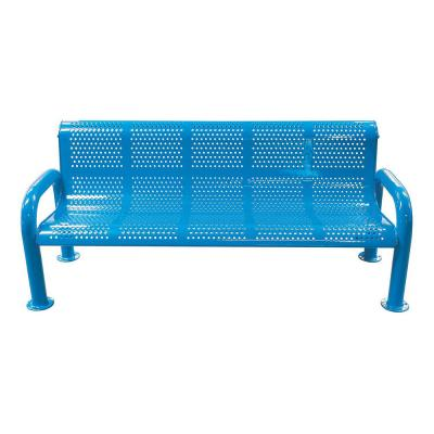 6 ft. Blue Metal U-Leg Perforated Roll Form Bench with Back